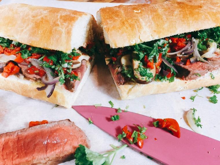 Broodje biefstuk met paprika en champignons 2