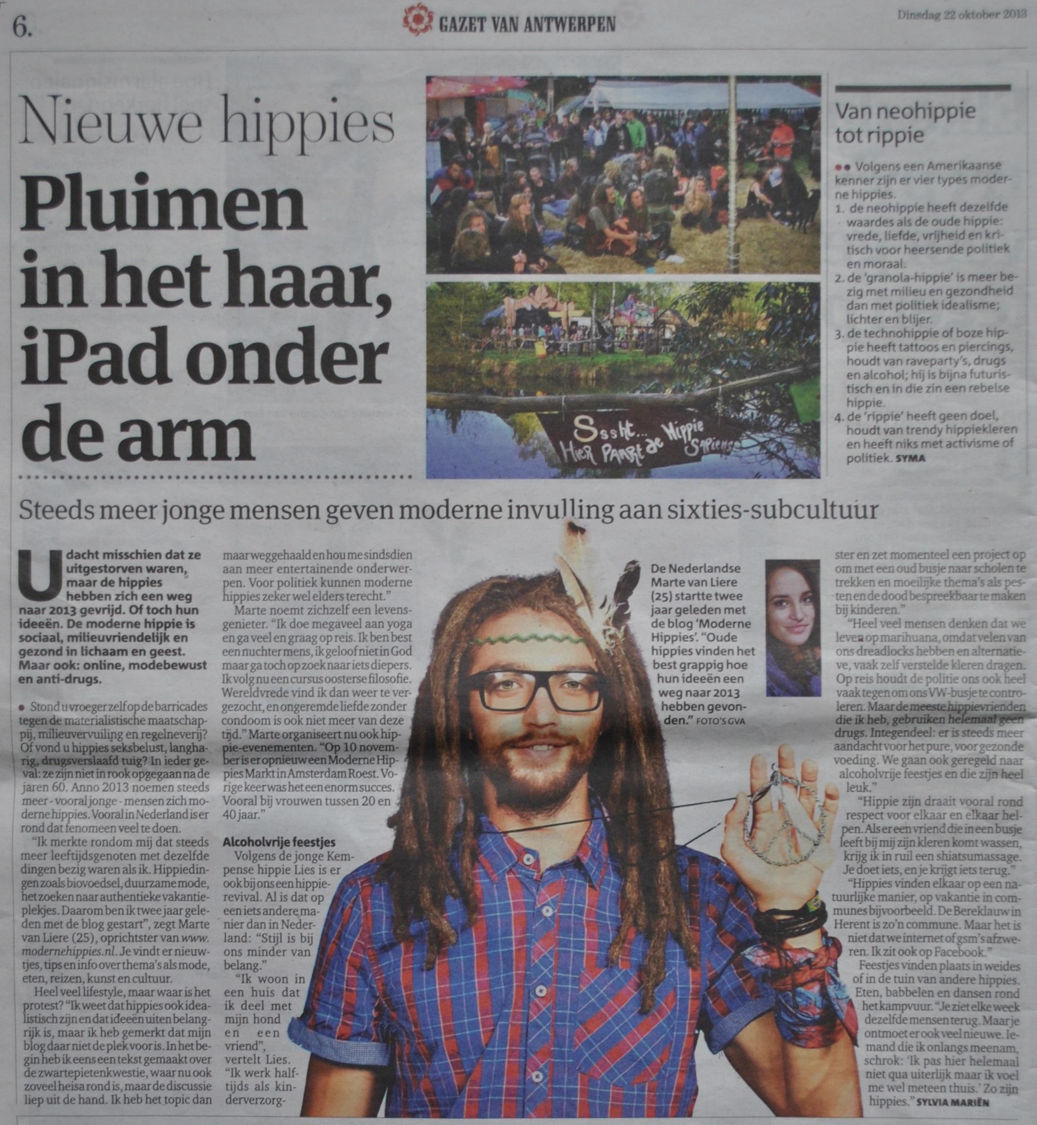 Moderne Hippies In de Pers Gazet van Antwerpen1