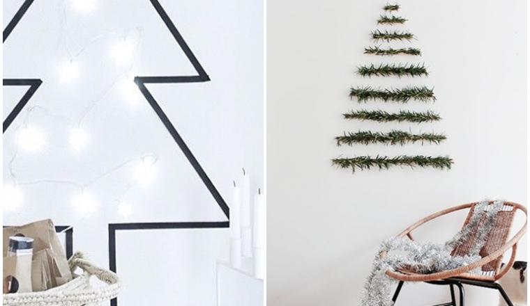 8x kerstbomen aan de muur