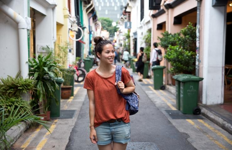 Woonwinkelen in Haji Lane, Singapore