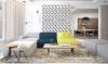 Compact wonen in een studio met grafisch kunstwerk