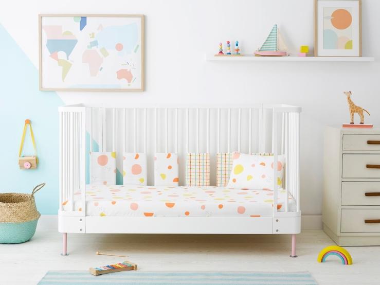 Olli_Ella_Terra_Bedding_Collection_organic_cot_bed_bedding_pink_coral_orange_yellow