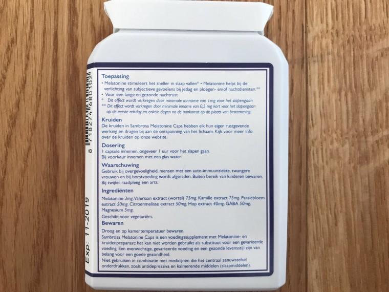 achterkant melatonine