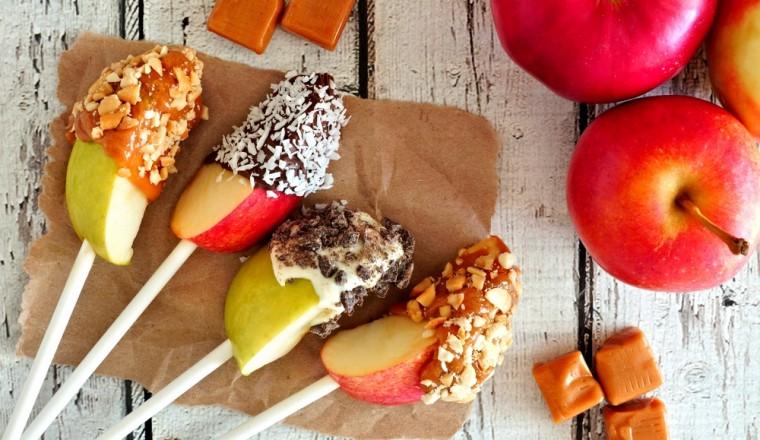 Feestelijke appellolly's met karamel en chocolade