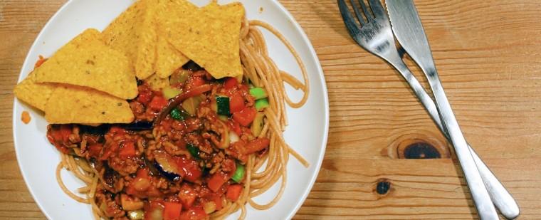 spaghetti_klassiek_pasta_bertolli_pastasaus_gehakt_Toscaanse_groenten_mix_doritos