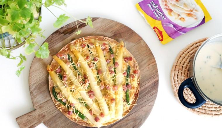 Een tortizza met witte asperges, wat een fantastisch idee!
