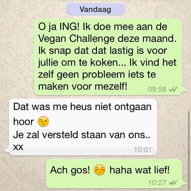 Vegan Challenge Reactie
