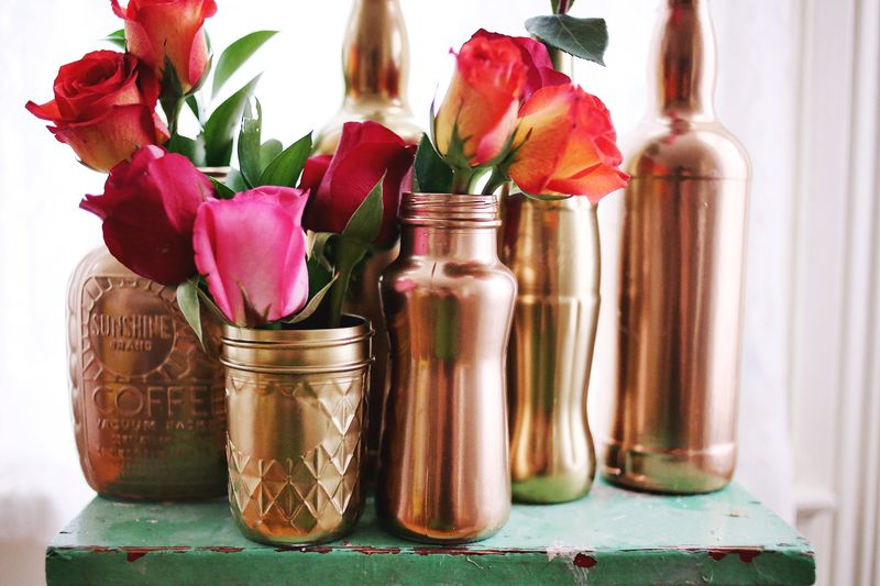 Design Handdoekenrek Keuken : Copper Spray-Paint Mason Jar