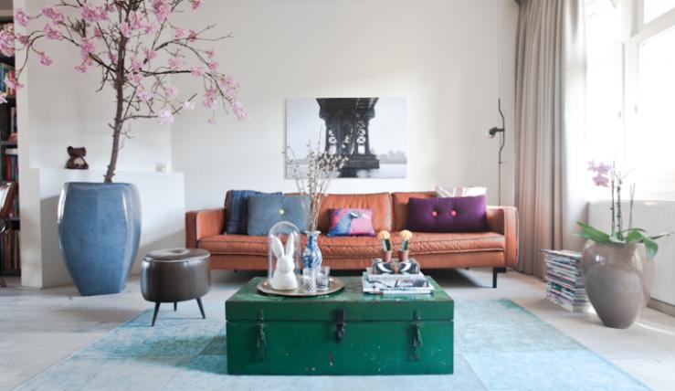 Modern interieur met planten minimalistische kleur je interieur