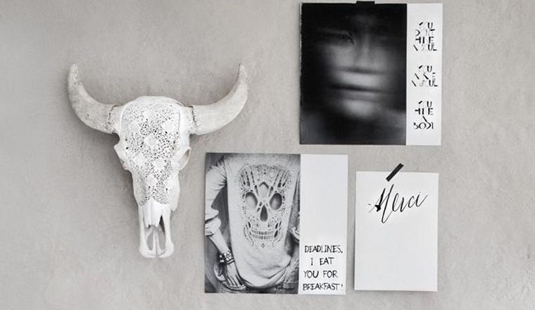 12x buffel schedels aan de muur