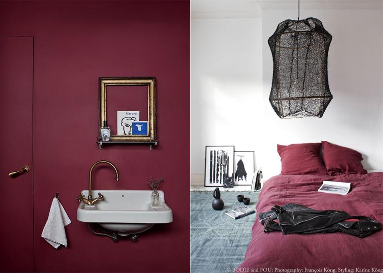 Bordeaux Rode Slaapkamer : Interieur met rode accenten. een bohemian interieur with interieur
