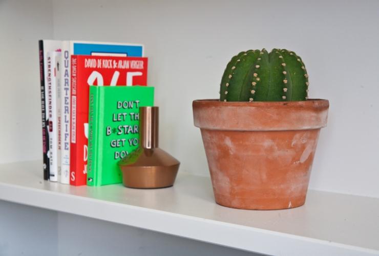 De kaarsenhouder is van H&M Home, de cactus komt uit de Negen Straatjes