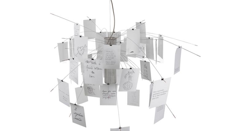 Woonvondst: hanglamp vol leuke berichtjes