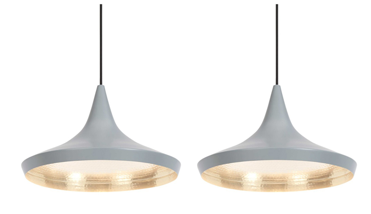 Deze design lamp komt in een grijs jasje