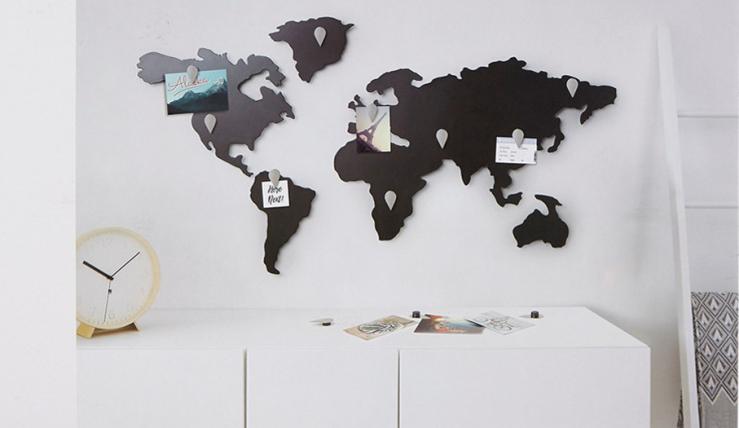 Woonkamer Met Wereldkaart : Hang de wereld aan je muur met deze mooie wereldkaart interior