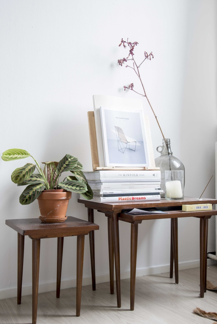 De houten tafeltjes zijn van mijn opa en oma geweest. De vaas aan de rechterkant is van kringloop, en de plant aan de linkerkant is van Plantenoutlet.