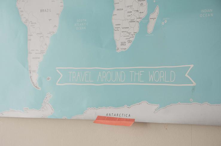 Op deze landkaart teken ik altijd de landen waar ik ben geweest in.