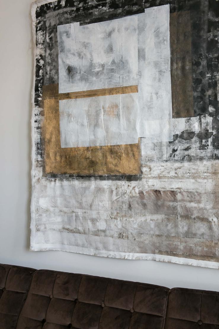 Mooi als woonkamer inspiratie: linnen kunst
