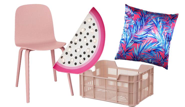 Woonfavorieten: roze eetkamerstoel + tropische lamp