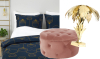 Woonfavorieten: fluwelen poef + kitscherige lamp