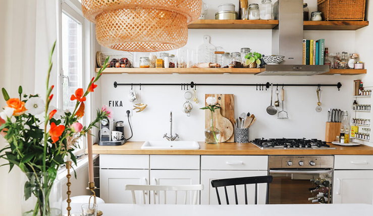 Massief eiken planken met mdf keuken en interieurs op maakt