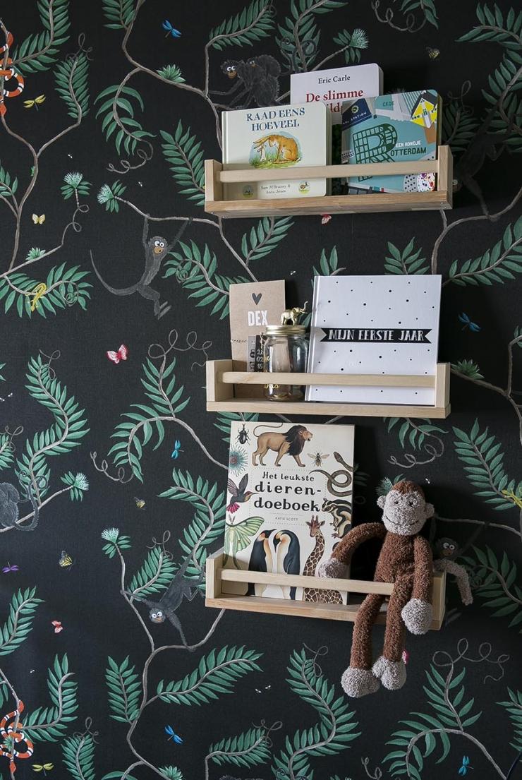 De babykamer vol jungle behang van Amanda