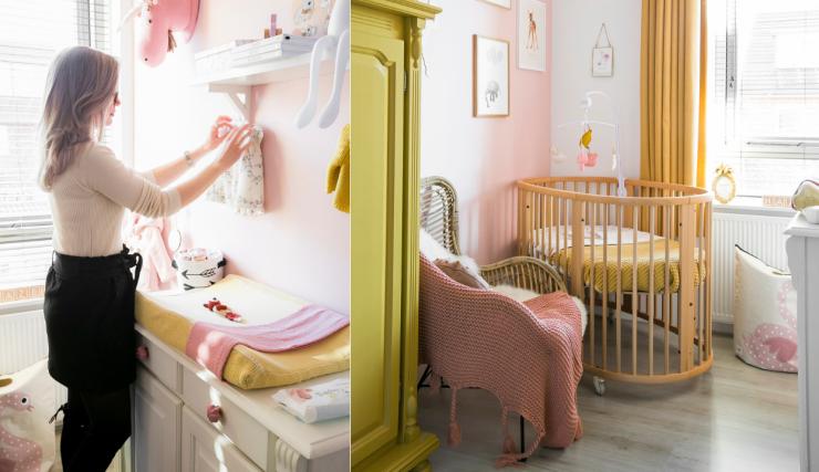 Baby video tour in de roze-gele babykamer van Elise