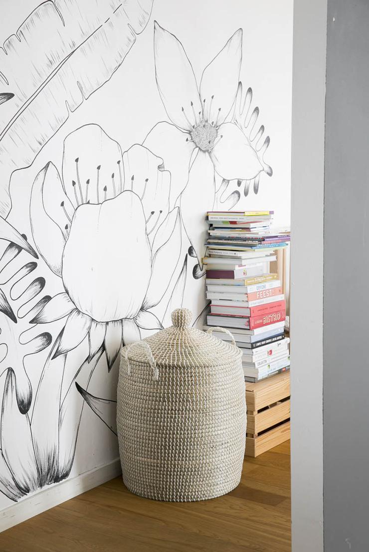 Pronken met een muur illustratie in de woonkamer