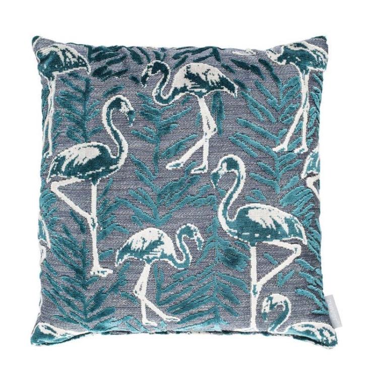 Woonfavorieten: gouden sidetable + flamingo kussen