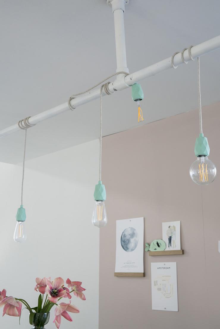 DIY hanglampen voor boven de eettafel