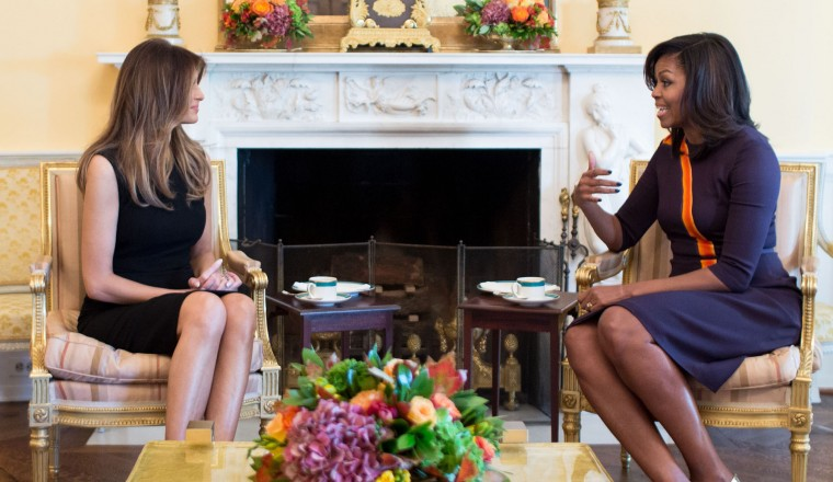 First Lady Michelle Obama meets with Melania Trump for tea in the Yellow Oval Room of the White House, Nov. 10, 2016. (Official White House Photo by Chuck Kennedy)  This official White House photograph is being made available only for publication by news organizations and/or for personal use printing by the subject(s) of the photograph. The photograph may not be manipulated in any way and may not be used in commercial or political materials, advertisements, emails, products, promotions that in any way suggests approval or endorsement of the President, the First Family, or the White House.