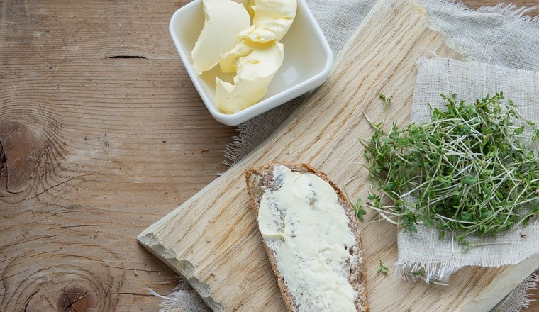 Bread Natural Product Green Cress Herbs Butter